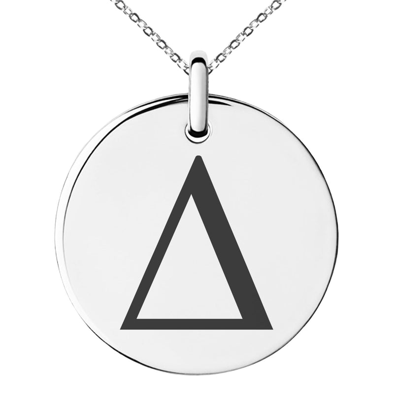 Stainless Steel Delta Mathematical Engraved Small Medallion Circle Charm Pendant Necklace