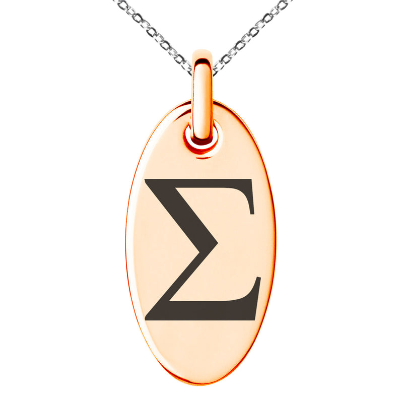 Stainless Steel Sigma Mathematical Engraved Small Oval Charm Pendant Necklace - Tioneer