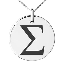 Stainless Steel Sigma Mathematical Engraved Small Medallion Circle Charm Pendant Necklace - Tioneer