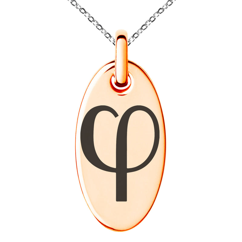 Stainless Steel Golden Ratio Mathematical Engraved Small Oval Charm Pendant Necklace