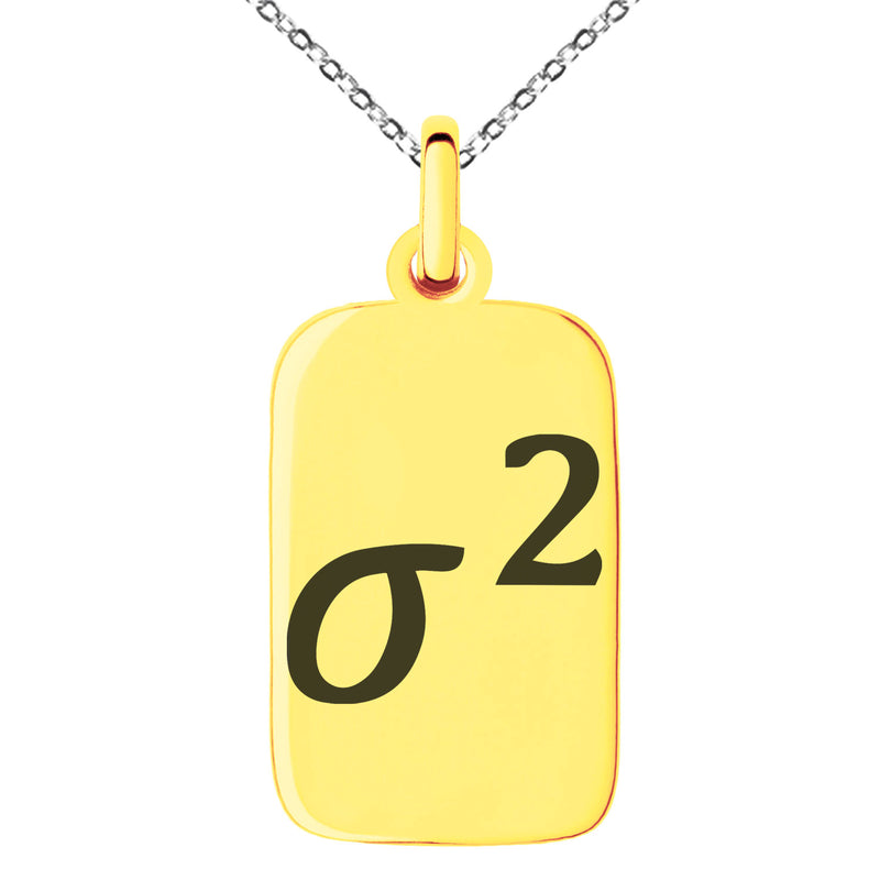 Stainless Steel Variance Mathematical Engraved Small Rectangle Dog Tag Charm Pendant Necklace - Tioneer