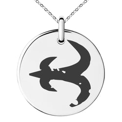 Stainless Steel Ancient Tribal Mercy Rune Engraved Small Medallion Circle Charm Pendant Necklace