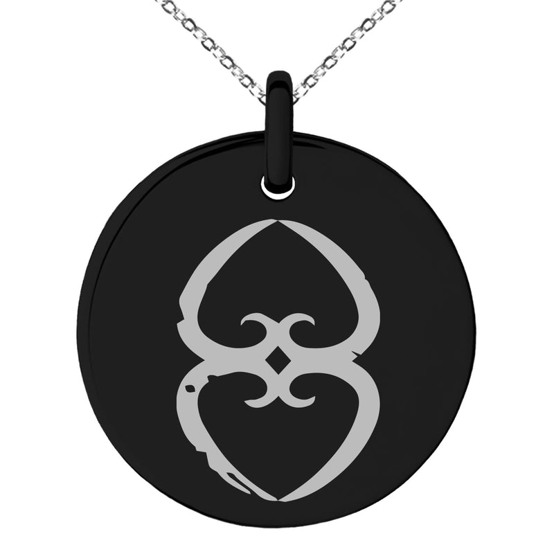 Stainless Steel Ancient Tribal Mother Earth Rune Engraved Small Medallion Circle Charm Pendant Necklace