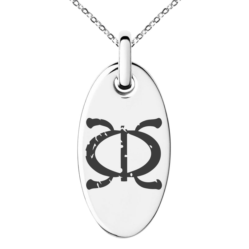 Stainless Steel Ancient Tribal Perseverance Rune Engraved Small Oval Charm Pendant Necklace