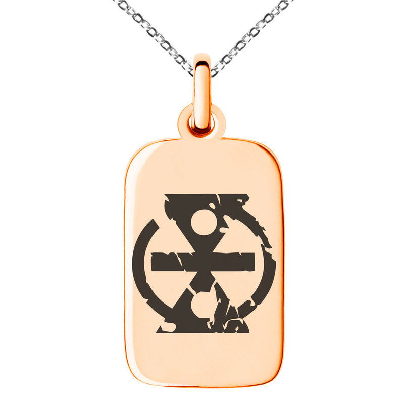 Stainless Steel Ancient Tribal Change Rune Engraved Small Rectangle Dog Tag Charm Pendant Necklace