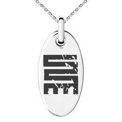 Stainless Steel Ancient Tribal Initiative Rune Engraved Small Oval Charm Pendant Necklace