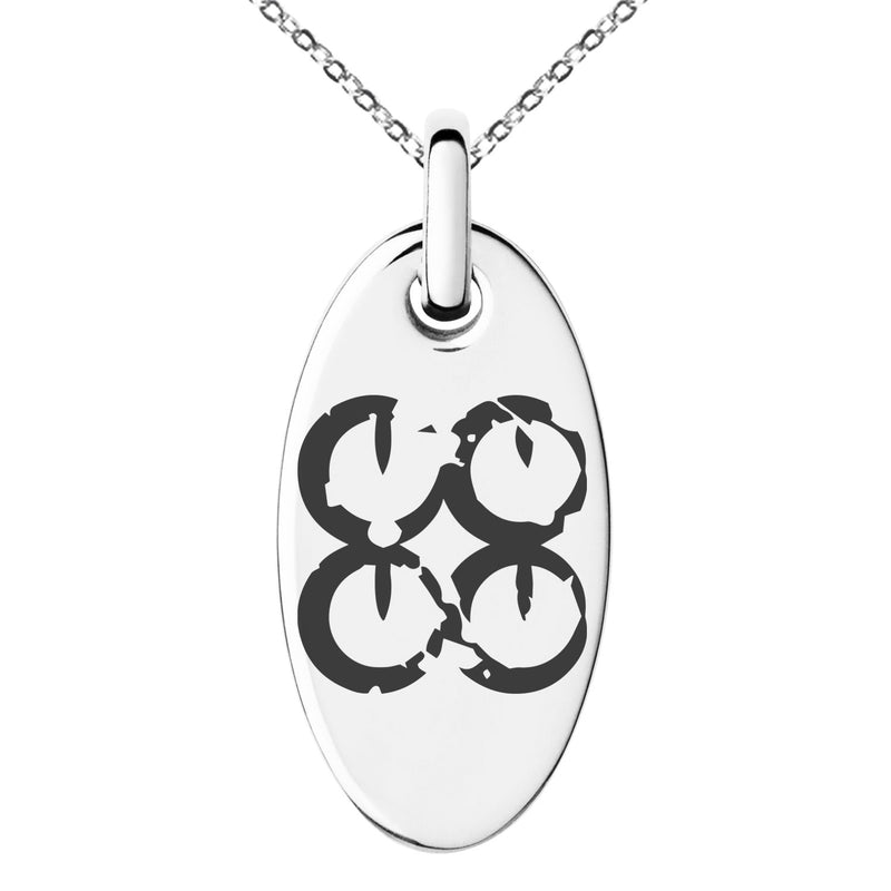 Stainless Steel Ancient Tribal Commitment Rune Engraved Small Oval Charm Pendant Necklace