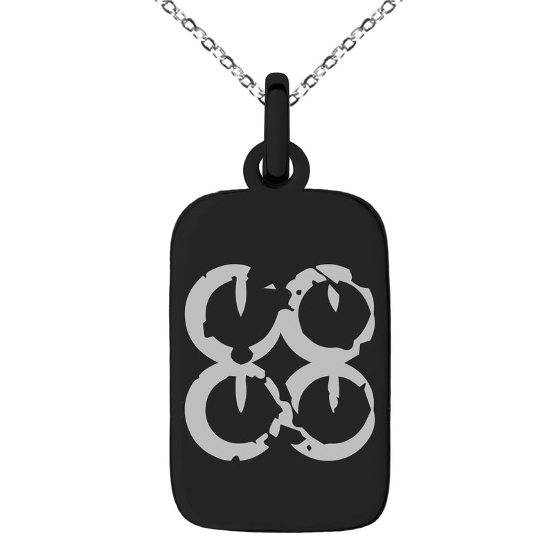 Stainless Steel Ancient Tribal Commitment Rune Engraved Small Rectangle Dog Tag Charm Pendant Necklace