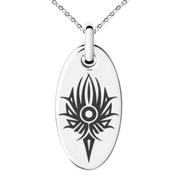Stainless Steel Tribal Torch Rune Engraved Small Oval Charm Pendant Necklace - Tioneer