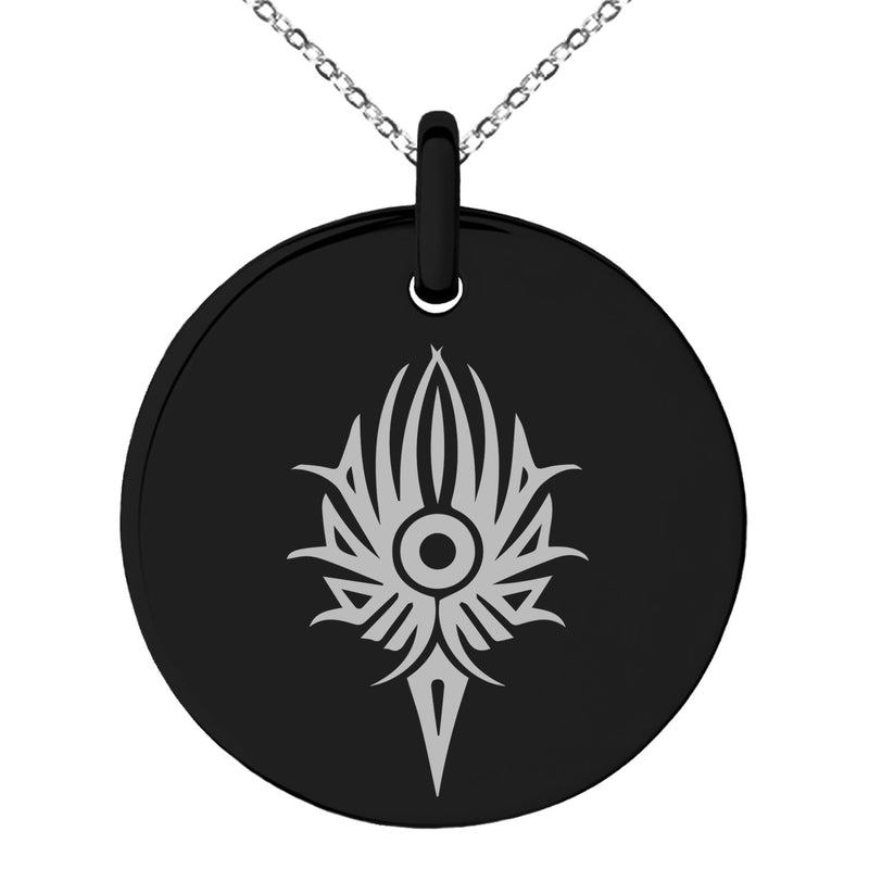 Stainless Steel Tribal Torch Rune Engraved Small Medallion Circle Charm Pendant Necklace - Tioneer