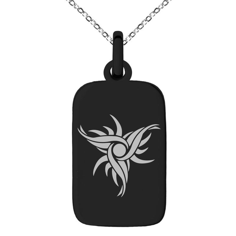 Stainless Steel Tribal Dark Sun Rune Engraved Small Rectangle Dog Tag Charm Pendant Necklace - Tioneer