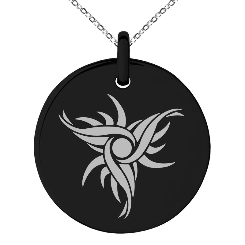 Stainless Steel Tribal Dark Sun Rune Engraved Small Medallion Circle Charm Pendant Necklace - Tioneer