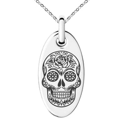 Stainless Steel Day of the Dead Sugar Skull Engraved Small Oval Charm Pendant Necklace