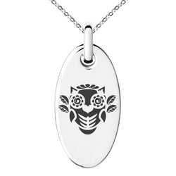 Stainless Steel Day of the Dead Owl Engraved Small Oval Charm Pendant Necklace