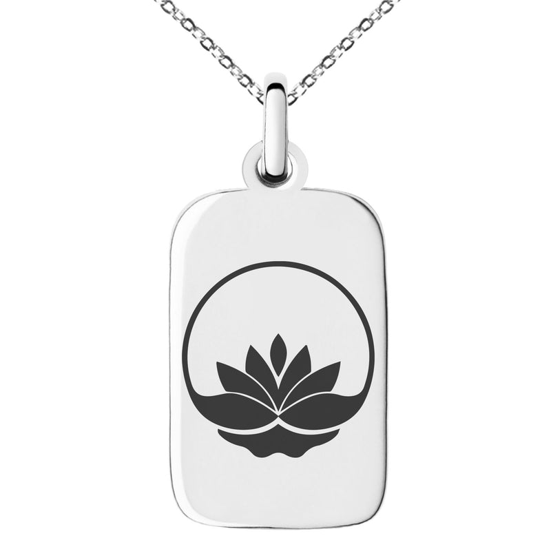 Stainless Steel Lotus Zen Engraved Small Rectangle Dog Tag Charm Pendant Necklace - Tioneer