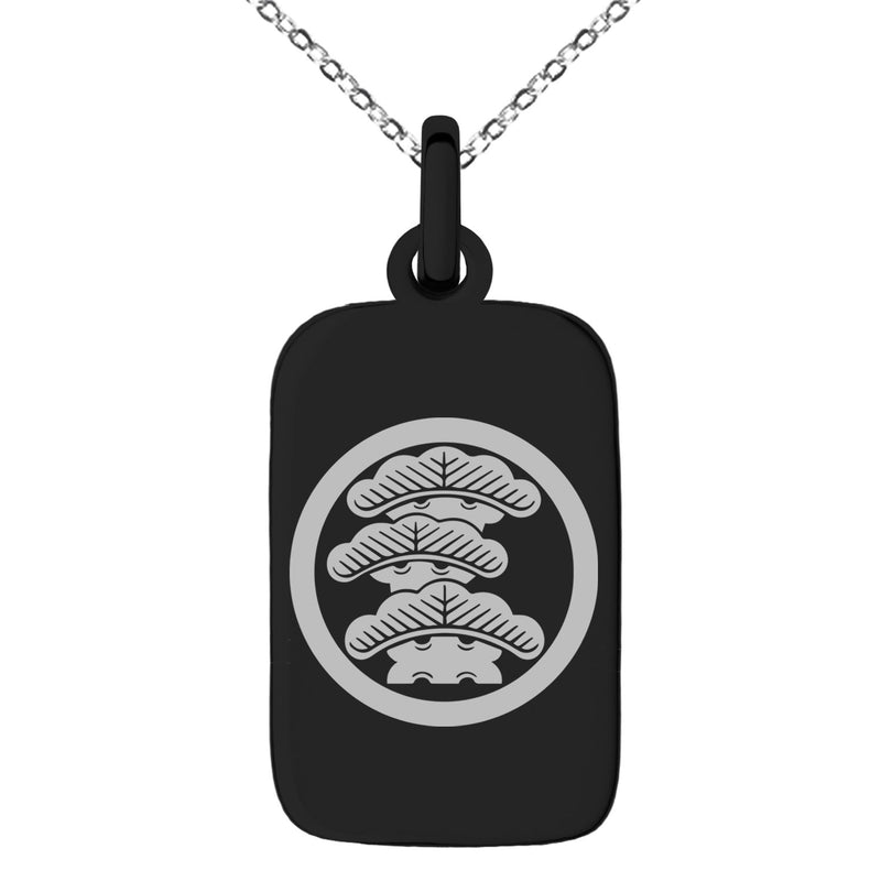 Stainless Steel Three-Tiered Pine Kamon Crest Engraved Small Rectangle Dog Tag Charm Pendant Necklace - Tioneer