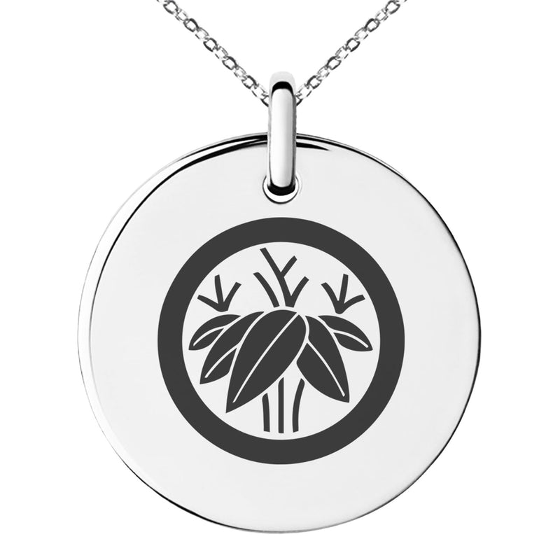 Stainless Steel Bamboo Kamon Crest Engraved Small Medallion Circle Charm Pendant Necklace