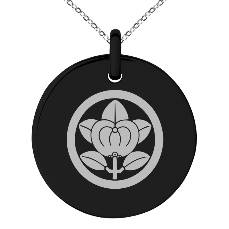 Stainless Steel Encircled Mandarin Kamon Crest Engraved Small Medallion Circle Charm Pendant Necklace