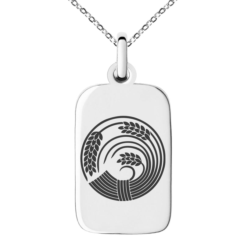 Stainless Steel Circle of Rice Plant Kamon Crest Engraved Small Rectangle Dog Tag Charm Pendant Necklace