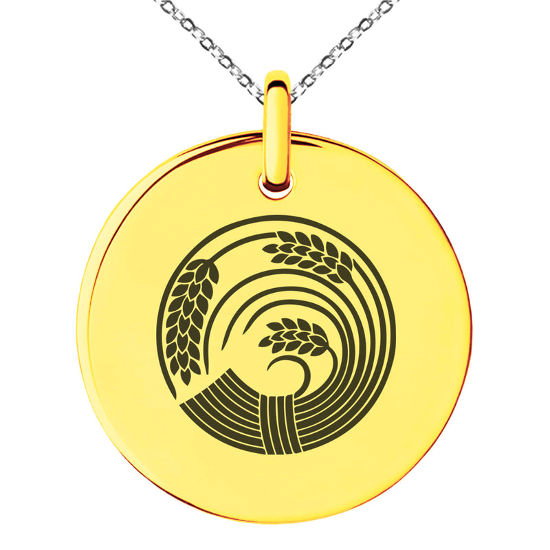 Stainless Steel Circle of Rice Plant Kamon Crest Engraved Small Medallion Circle Charm Pendant Necklace