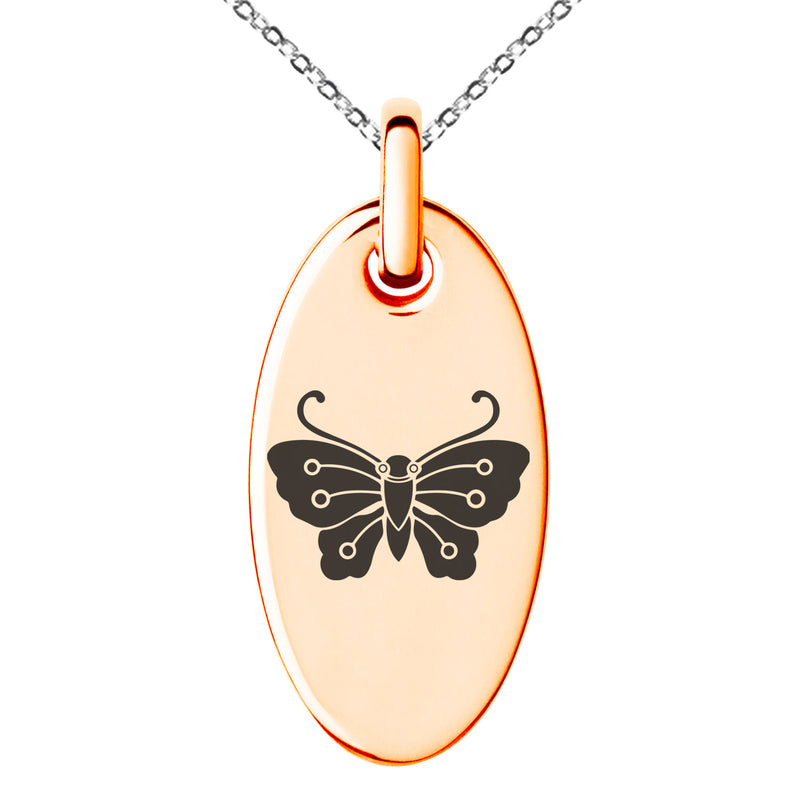 Stainless Steel Kawari Kocho Butterfly Kamon Crest Engraved Small Oval Charm Pendant Necklace