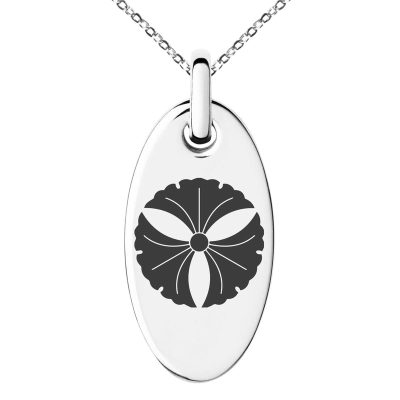 Stainless Steel Tree Ginkgo Leaves Kamon Crest Engraved Small Oval Charm Pendant Necklace - Tioneer
