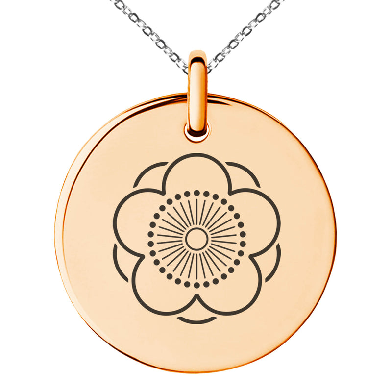 Stainless Steel Kage Yae Mukou Ume Kamon Crest Engraved Small Medallion Circle Charm Pendant Necklace
