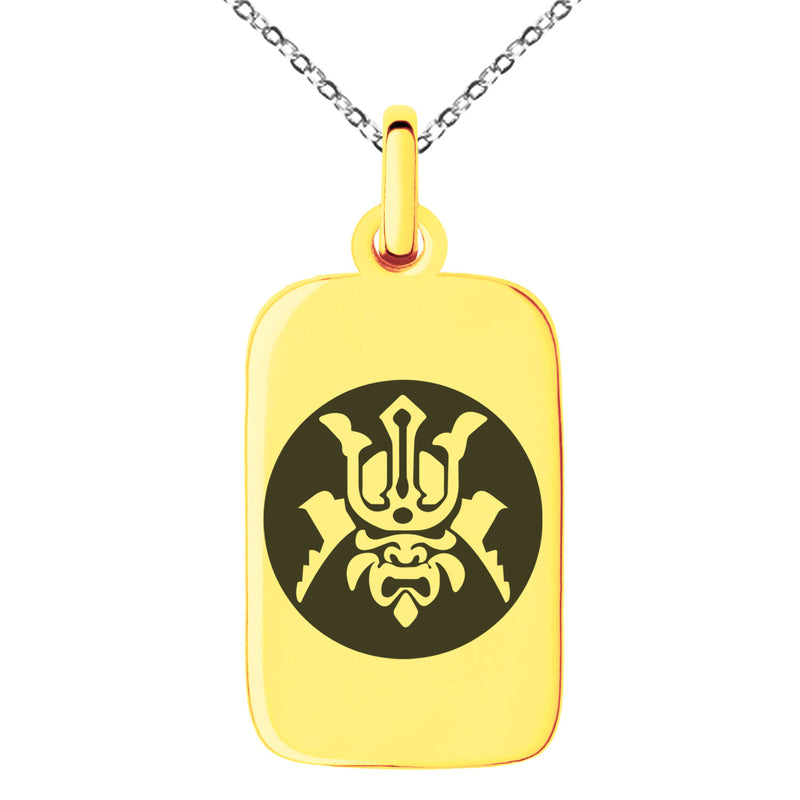 Stainless Steel Máscara Samurai Crest Engraved Small Rectangle Dog Tag Charm Pendant Necklace - Tioneer