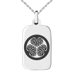Stainless Steel Tokugawa Samurai Crest Engraved Small Rectangle Dog Tag Charm Pendant Necklace - Tioneer