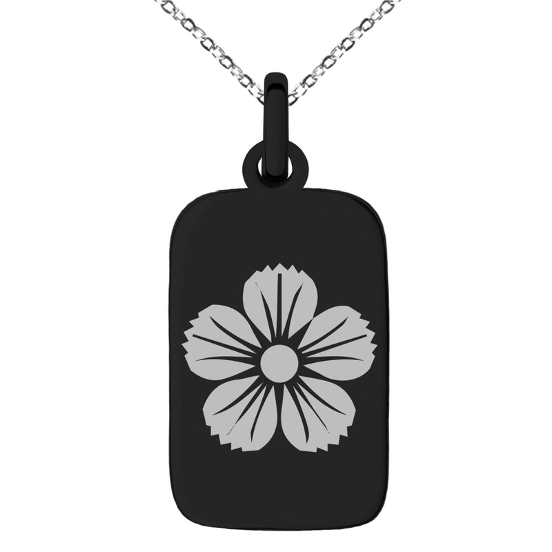 Stainless Steel Saito I Samurai Crest Engraved Small Rectangle Dog Tag Charm Pendant Necklace - Tioneer