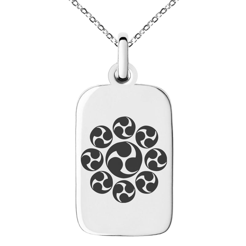 Stainless Steel Nagao Samurai Crest Engraved Small Rectangle Dog Tag Charm Pendant Necklace - Tioneer