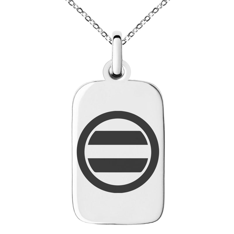 Stainless Steel Ashikaga Samurai Crest Engraved Small Rectangle Dog Tag Charm Pendant Necklace
