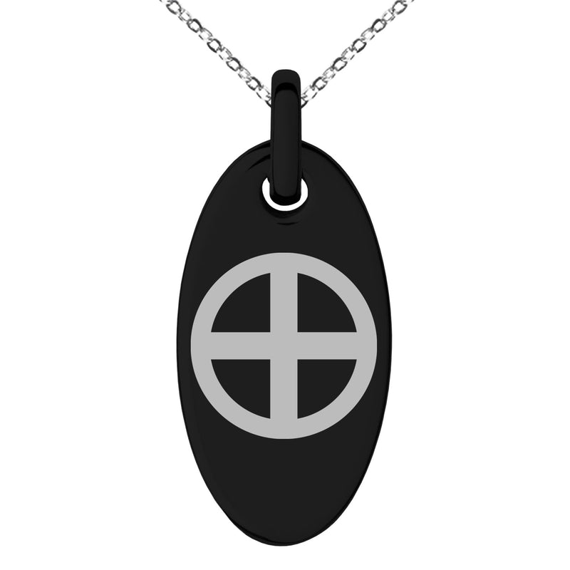 Stainless Steel Shimazu Samurai Crest Engraved Small Oval Charm Pendant Necklace - Tioneer