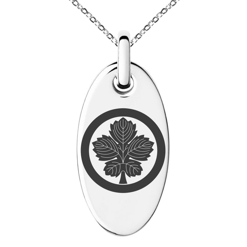 Stainless Steel Abe Samurai Crest Engraved Small Oval Charm Pendant Necklace