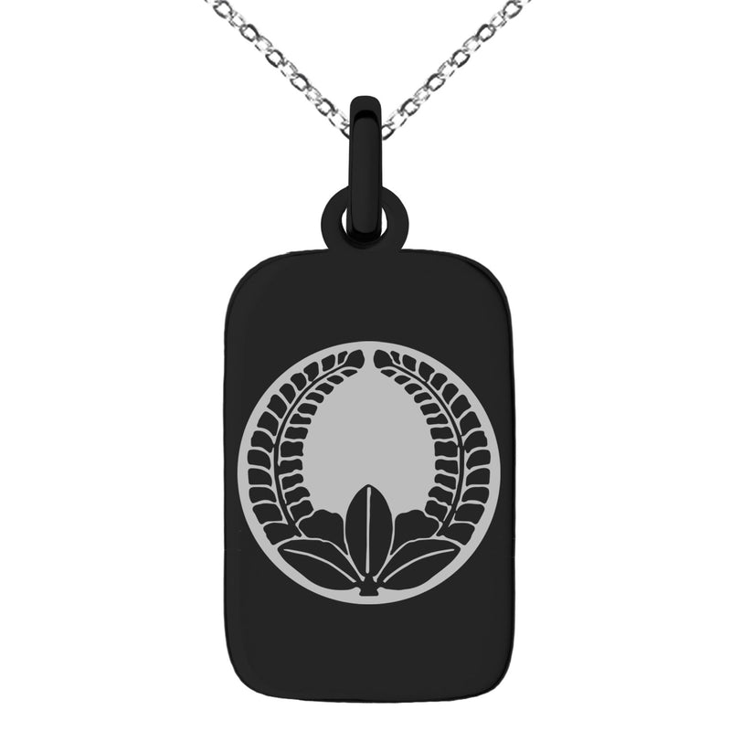 Stainless Steel Ando Samurai Crest Engraved Small Rectangle Dog Tag Charm Pendant Necklace