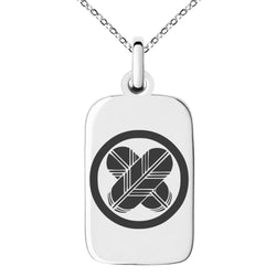 Stainless Steel Asano Samurai Crest Engraved Small Rectangle Dog Tag Charm Pendant Necklace
