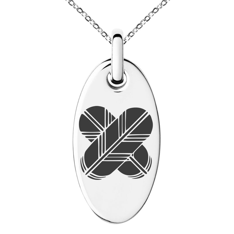 Stainless Steel Aso Samurai Crest Engraved Small Oval Charm Pendant Necklace