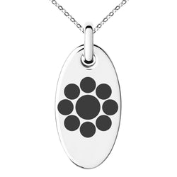 Stainless Steel Chiba Samurai Crest Engraved Small Oval Charm Pendant Necklace