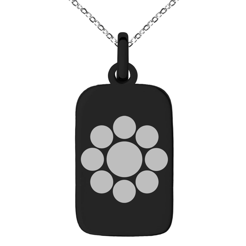 Stainless Steel Chiba Samurai Crest Engraved Small Rectangle Dog Tag Charm Pendant Necklace