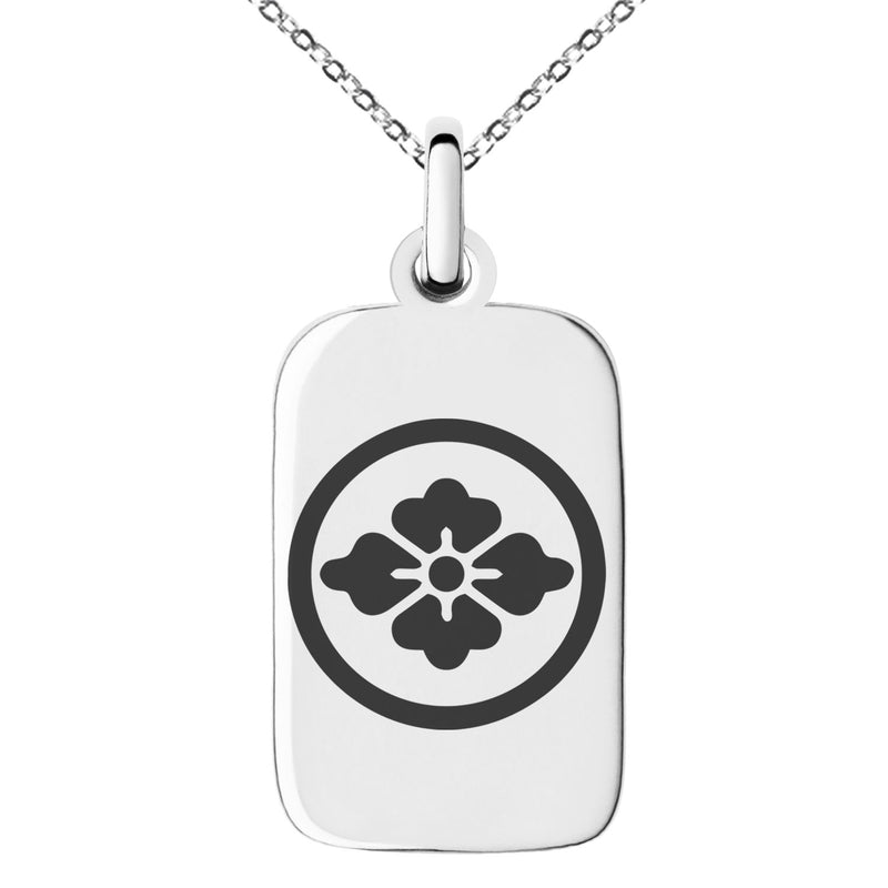 Stainless Steel Goto Samurai Crest Engraved Small Rectangle Dog Tag Charm Pendant Necklace