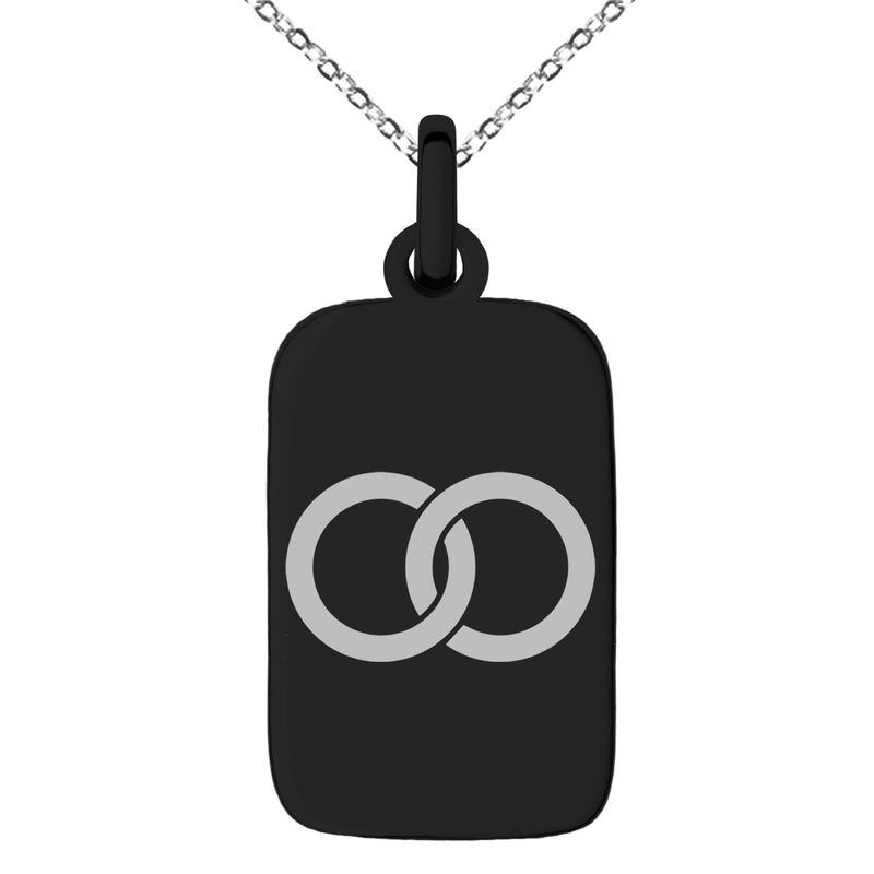 Stainless Steel Hatakeyama Samurai Crest Engraved Small Rectangle Dog Tag Charm Pendant Necklace