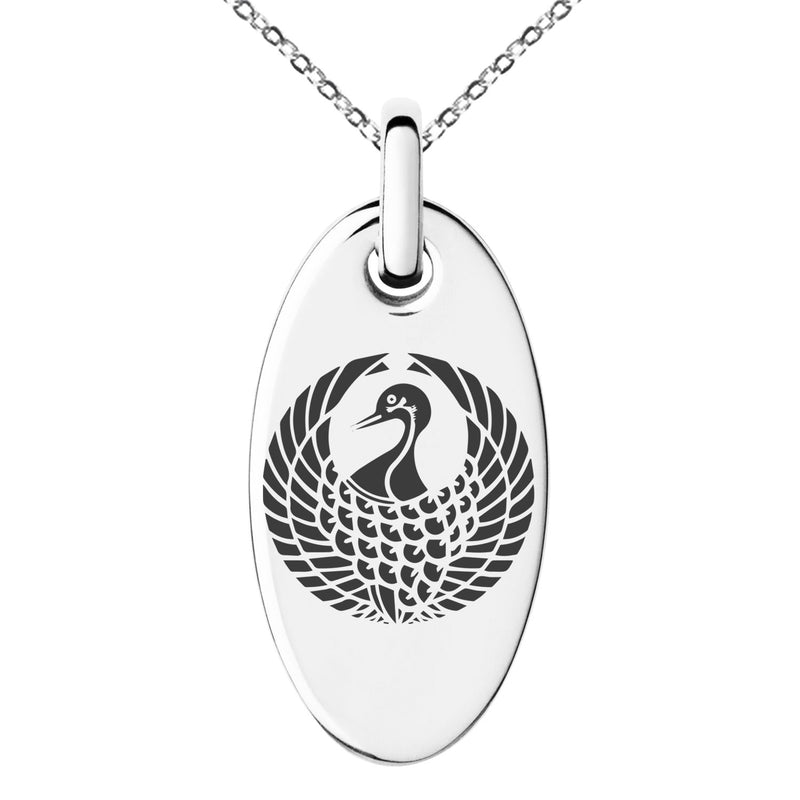 Stainless Steel Rokkaku Samurai Crest Engraved Small Oval Charm Pendant Necklace - Tioneer