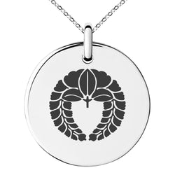 Stainless Steel Naito Samurai Crest Engraved Small Medallion Circle Charm Pendant Necklace - Tioneer
