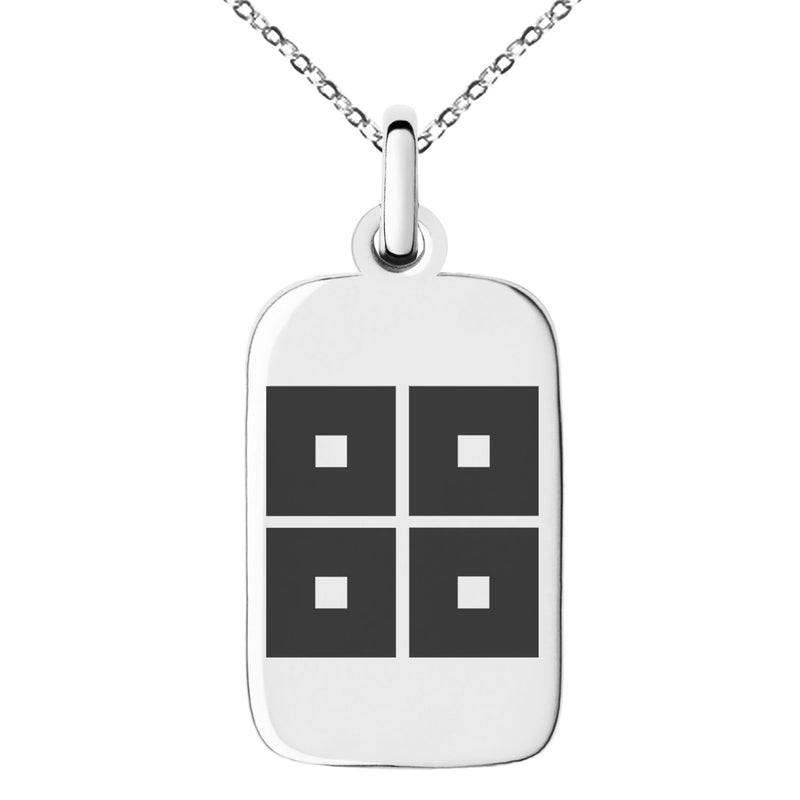 Stainless Steel Kyogoku Samurai Crest Engraved Small Rectangle Dog Tag Charm Pendant Necklace