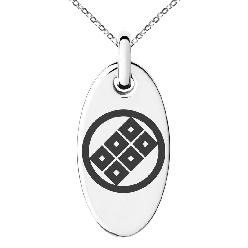 Stainless Steel Shoni Samurai Crest Engraved Small Oval Charm Pendant Necklace - Tioneer