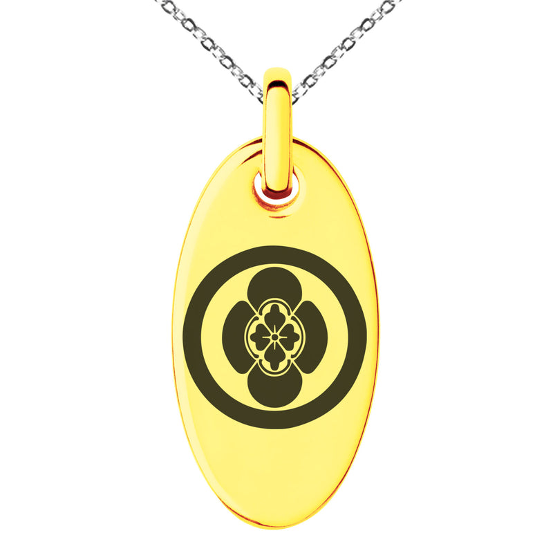 Stainless Steel Takigawa Samurai Crest Engraved Small Oval Charm Pendant Necklace - Tioneer
