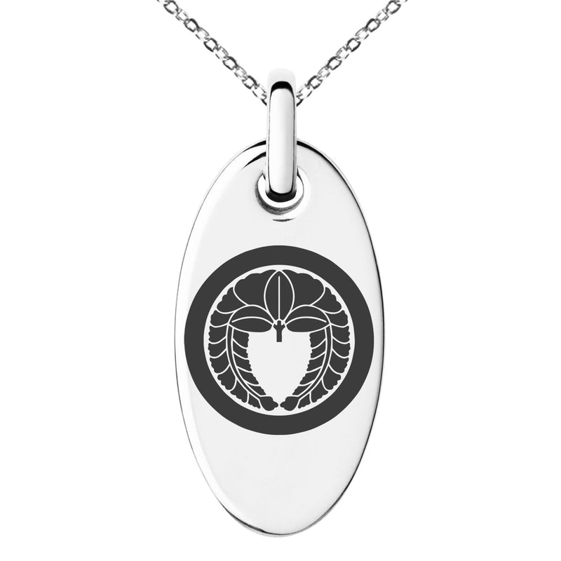 Stainless Steel Natsuka Samurai Crest Engraved Small Oval Charm Pendant Necklace - Tioneer