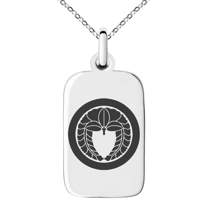 Stainless Steel Natsuka Samurai Crest Engraved Small Rectangle Dog Tag Charm Pendant Necklace - Tioneer