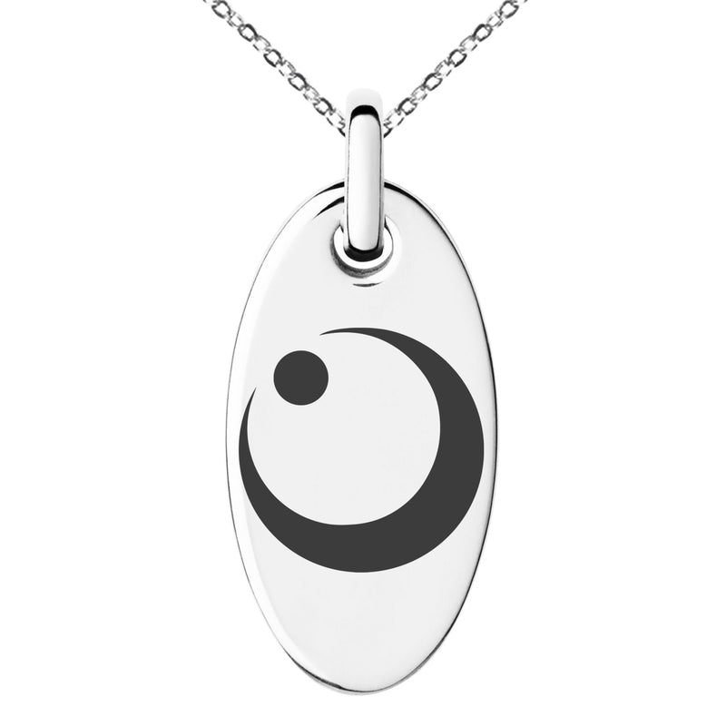 Stainless Steel Obu Samurai Crest Engraved Small Oval Charm Pendant Necklace - Tioneer