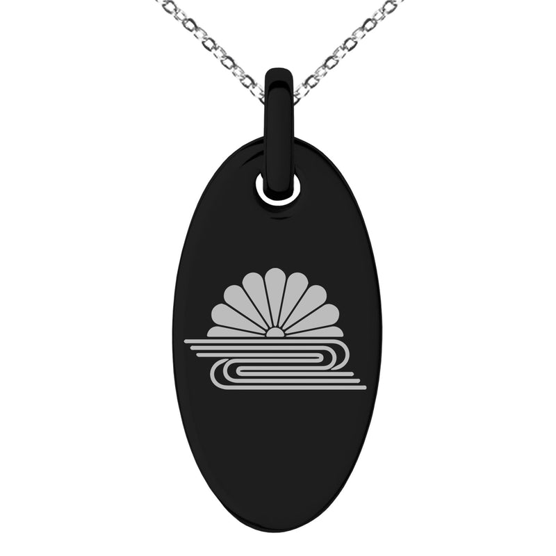 Stainless Steel Kusonoki Samurai Crest Engraved Small Oval Charm Pendant Necklace